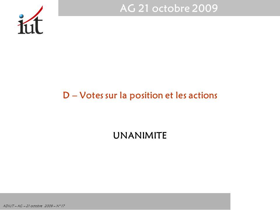 D – Votes sur la position et les actions