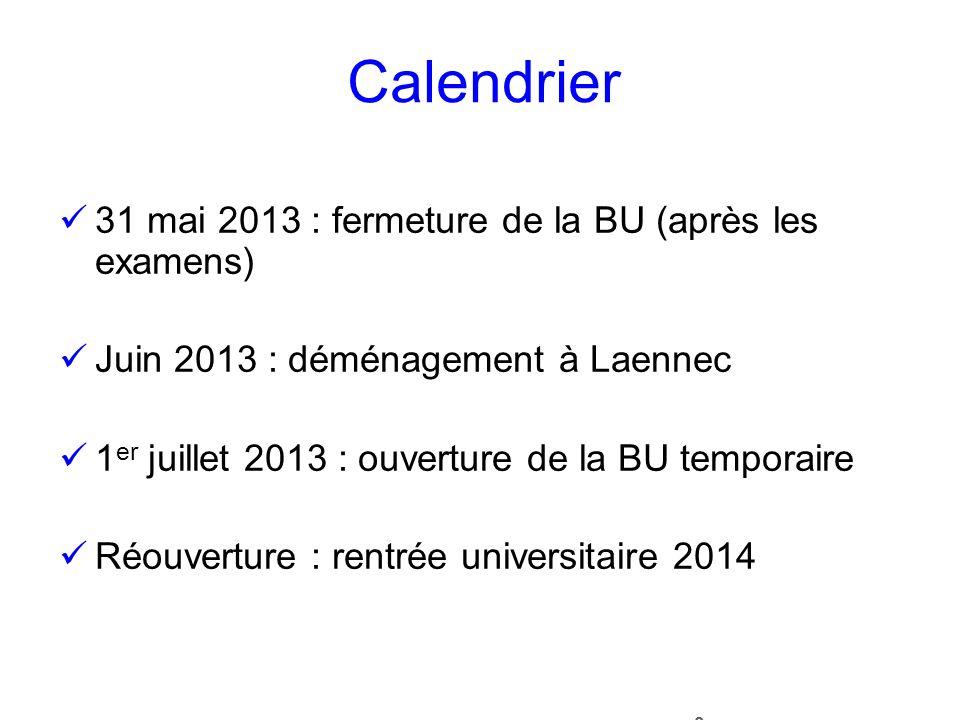 Calendrier 31 mai 2013 : fermeture de la BU (après les examens)