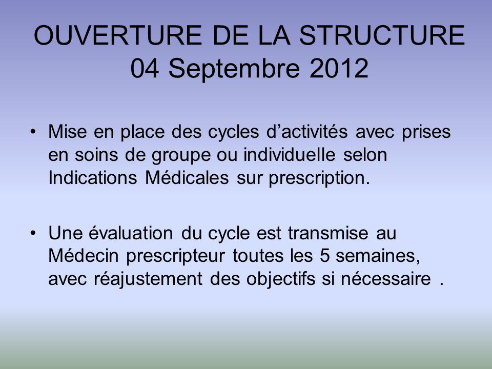 OUVERTURE DE LA STRUCTURE 04 Septembre 2012