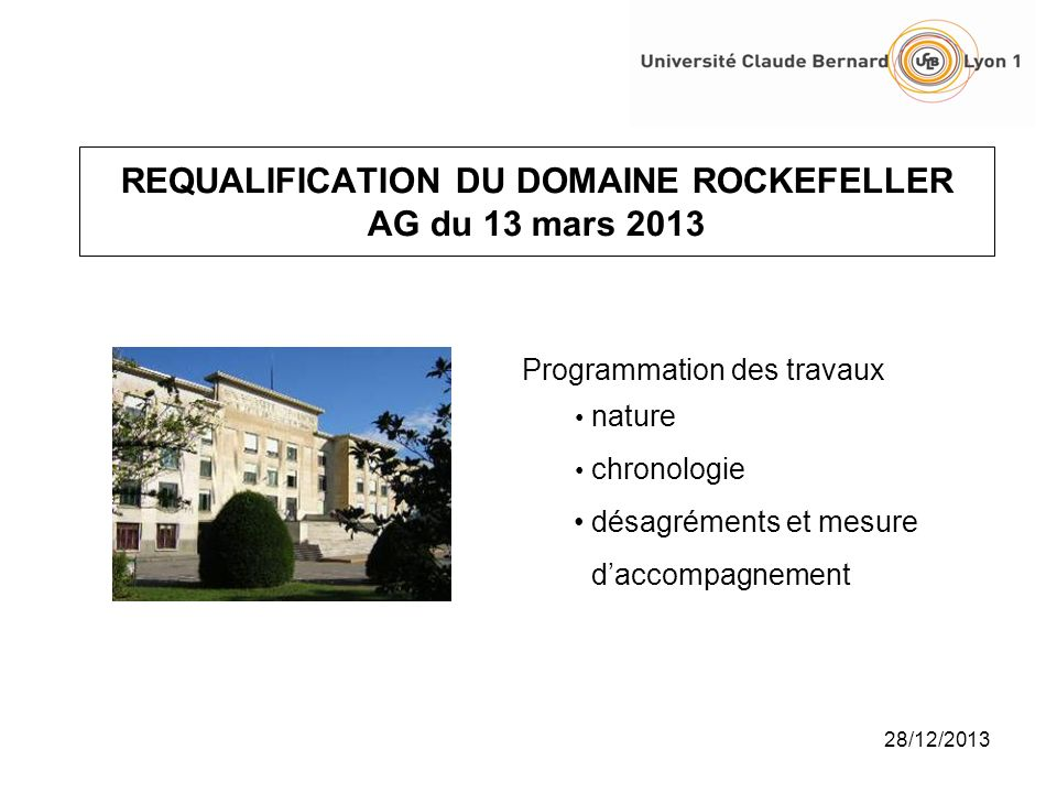 Requalification du domaine rockefeller ag du 13 mars ppt for Chambre sociale 13 mars 2013
