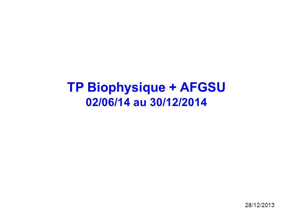 TP Biophysique + AFGSU 02/06/14 au 30/12/2014