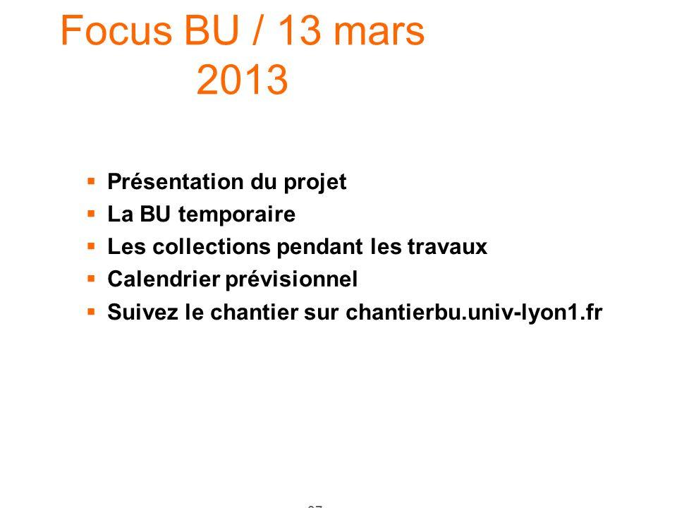 Focus BU / 13 mars 2013 Présentation du projet La BU temporaire