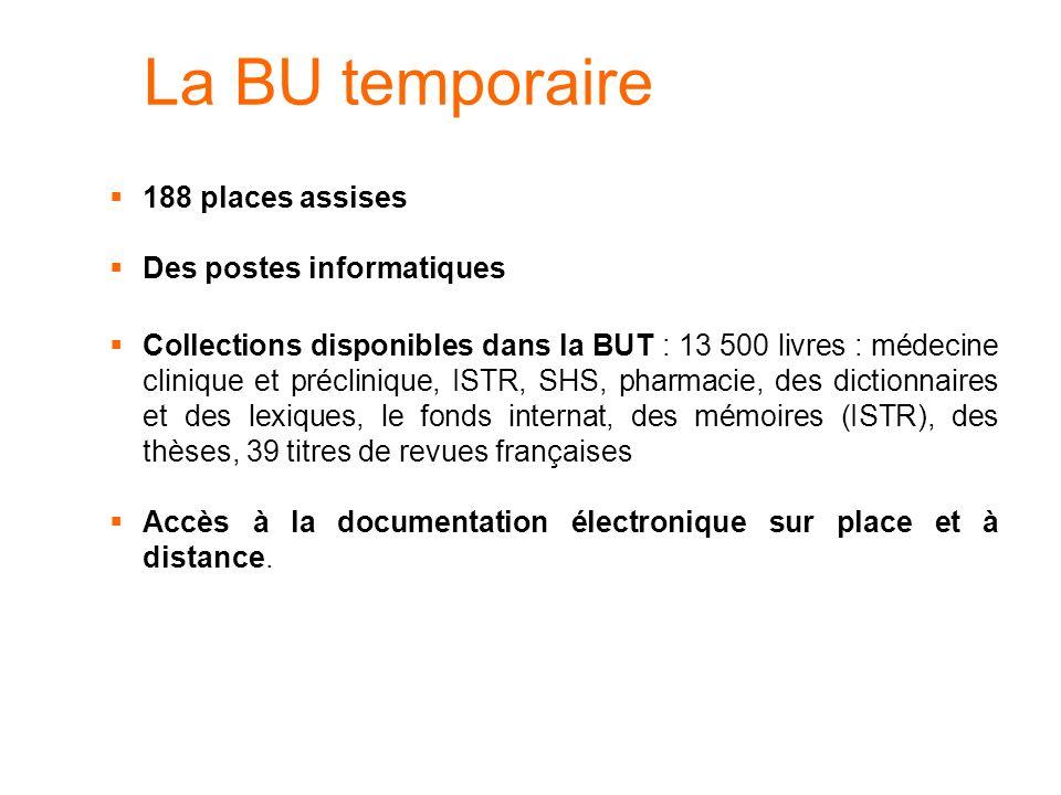 La BU temporaire 188 places assises Des postes informatiques