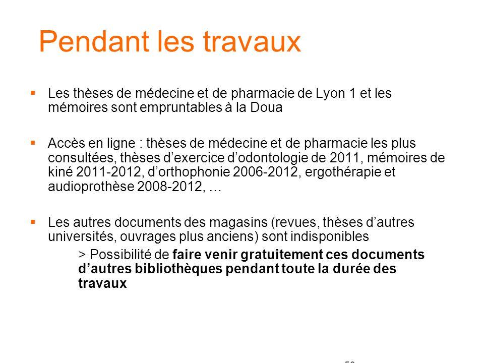 Pendant les travaux Les thèses de médecine et de pharmacie de Lyon 1 et les mémoires sont empruntables à la Doua.