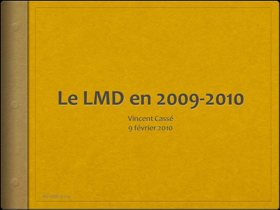 Le LMD en 2009-2010 Vincent Cassé 9 février 2010 AG LMD 9/2/10