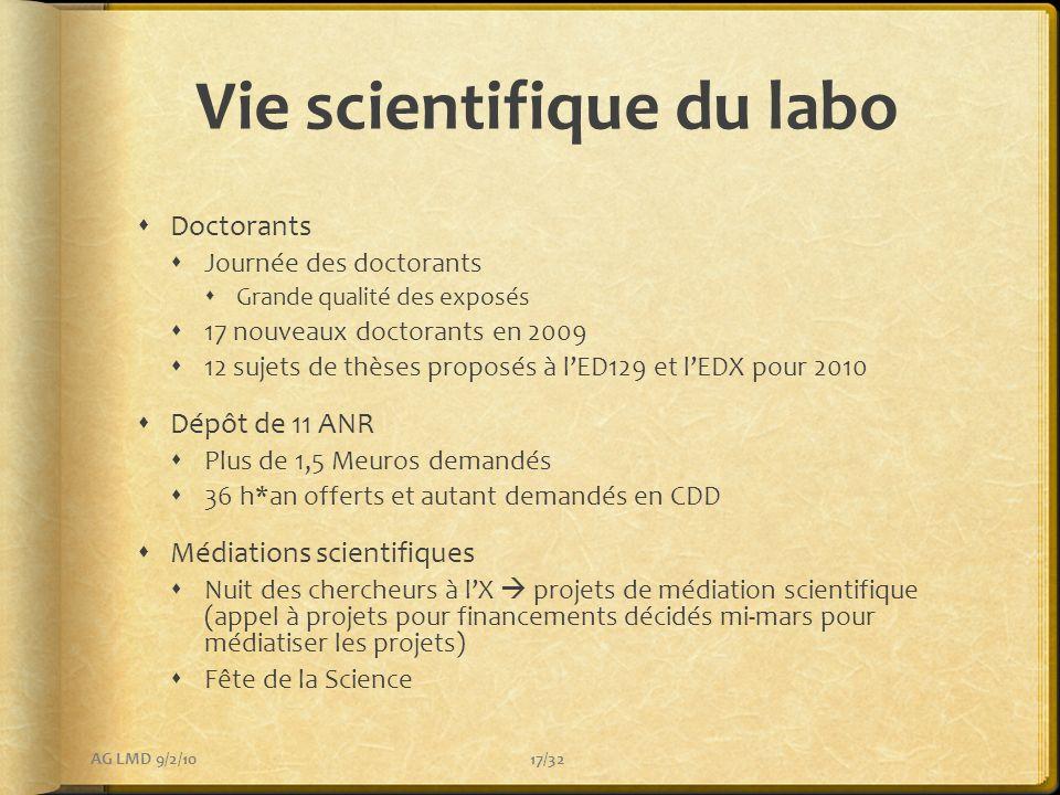 Vie scientifique du labo