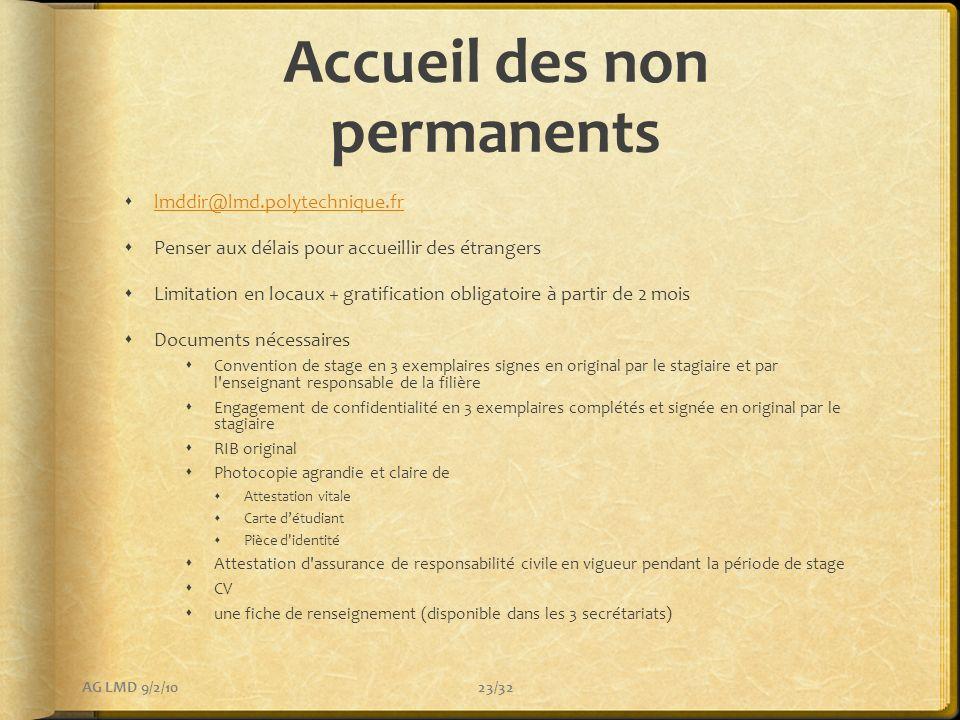 Accueil des non permanents