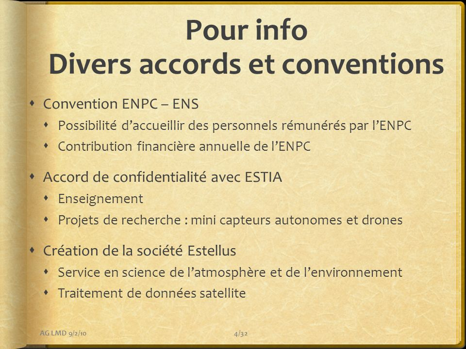 Pour info Divers accords et conventions