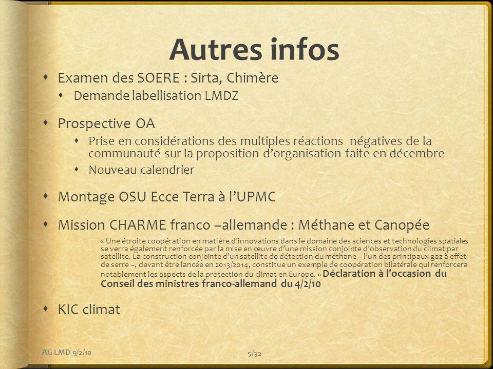 Autres infos Examen des SOERE : Sirta, Chimère Prospective OA