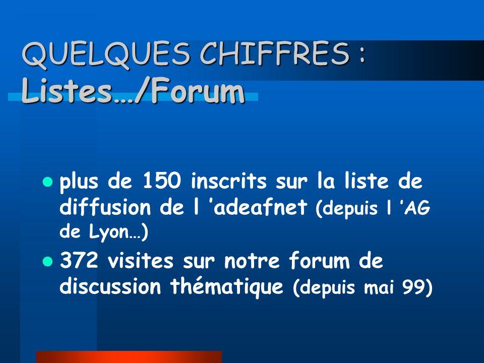 QUELQUES CHIFFRES : Listes…/Forum