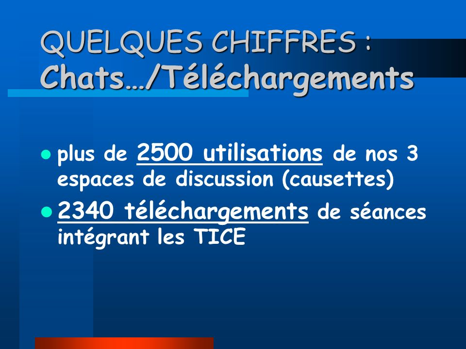 QUELQUES CHIFFRES : Chats…/Téléchargements