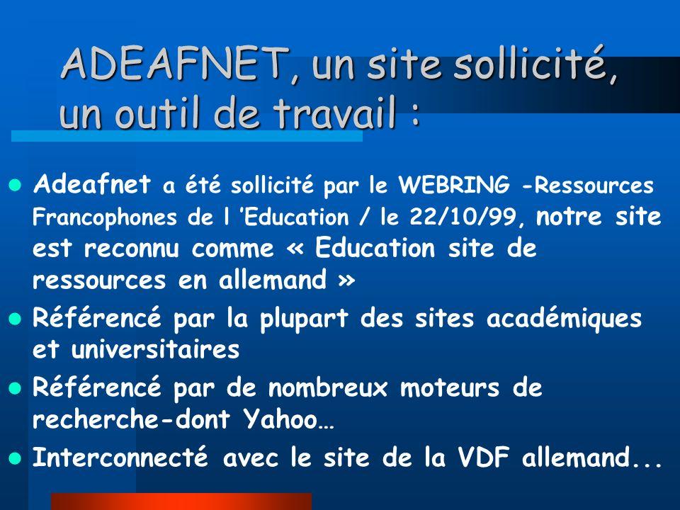 ADEAFNET, un site sollicité, un outil de travail :