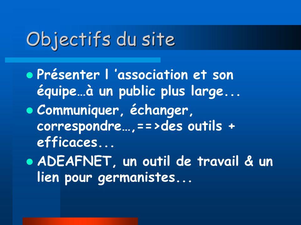 Objectifs du site Présenter l 'association et son équipe…à un public plus large... Communiquer, échanger, correspondre…,==>des outils + efficaces...