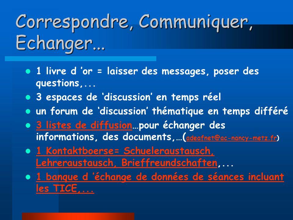 Correspondre, Communiquer, Echanger...