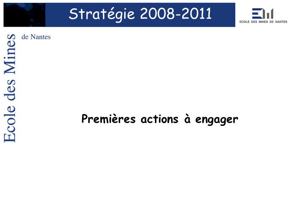 Stratégie 2008-2011 Premières actions à engager