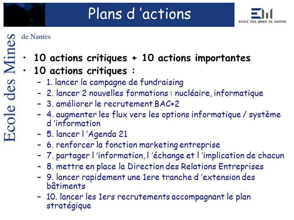 Plans d 'actions 10 actions critiques + 10 actions importantes