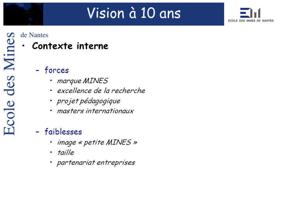 Vision à 10 ans Contexte interne forces faiblesses marque MINES