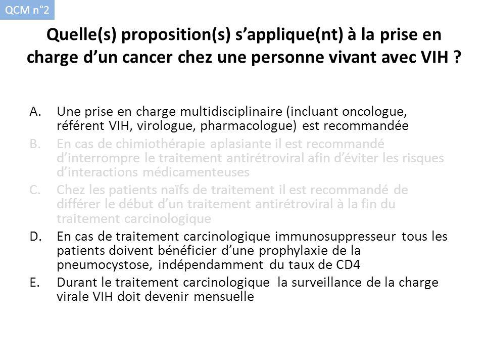 QCM n°2 Quelle(s) proposition(s) s'applique(nt) à la prise en charge d'un cancer chez une personne vivant avec VIH