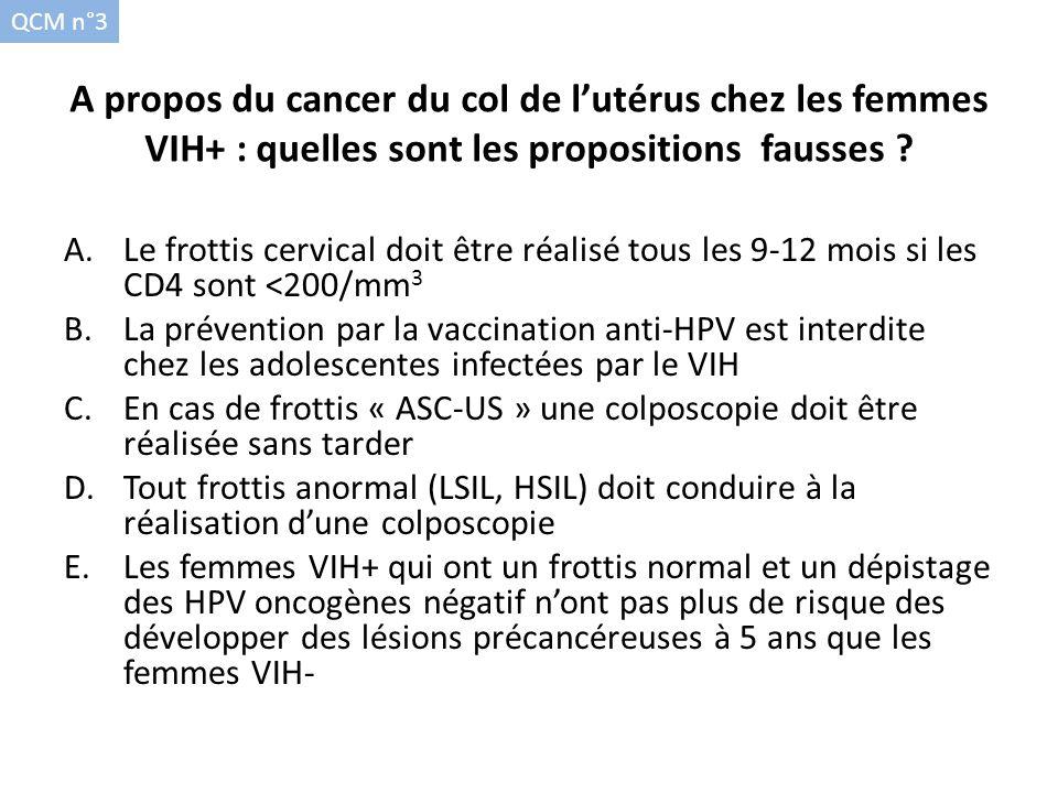 QCM n°3 A propos du cancer du col de l'utérus chez les femmes VIH+ : quelles sont les propositions fausses