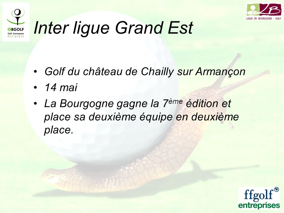 Inter ligue Grand Est Golf du château de Chailly sur Armançon 14 mai
