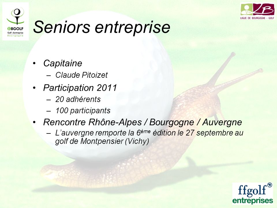 Seniors entreprise Capitaine Participation 2011