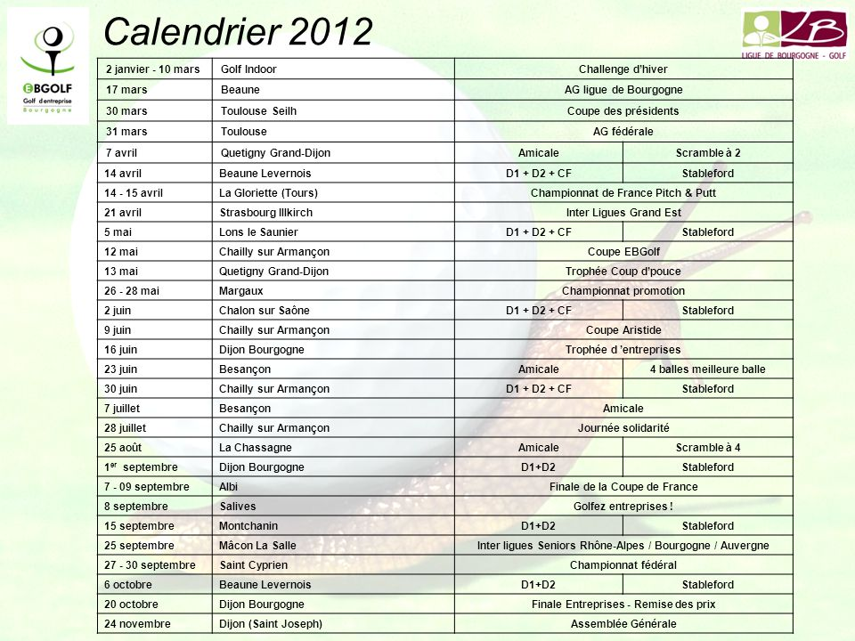Calendrier 2012 2 janvier - 10 mars Golf Indoor Challenge d'hiver