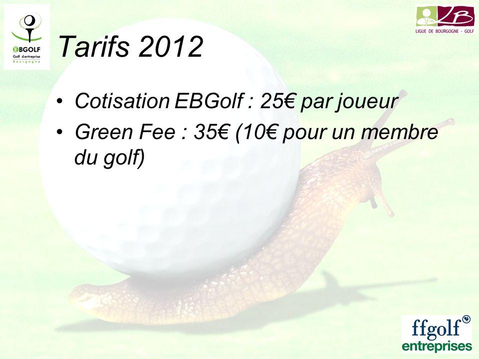 Tarifs 2012 Cotisation EBGolf : 25€ par joueur