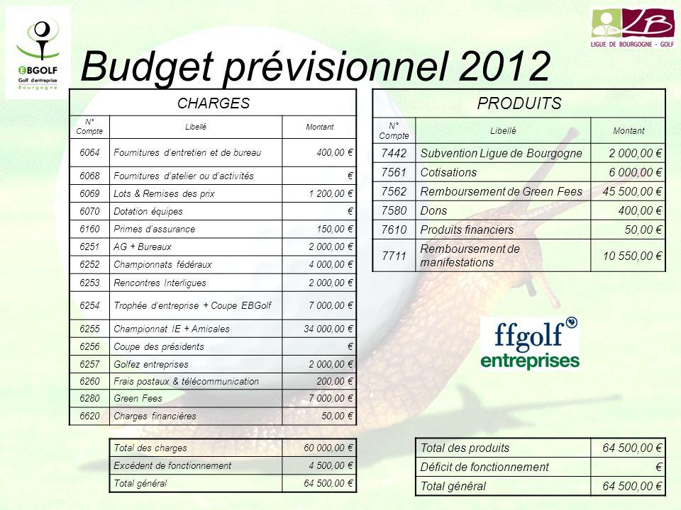 Budget prévisionnel 2012 PRODUITS CHARGES 7442