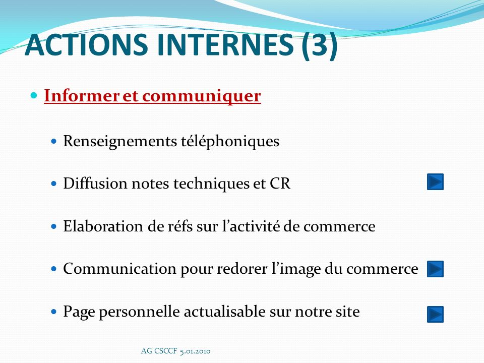ACTIONS INTERNES (3) Informer et communiquer