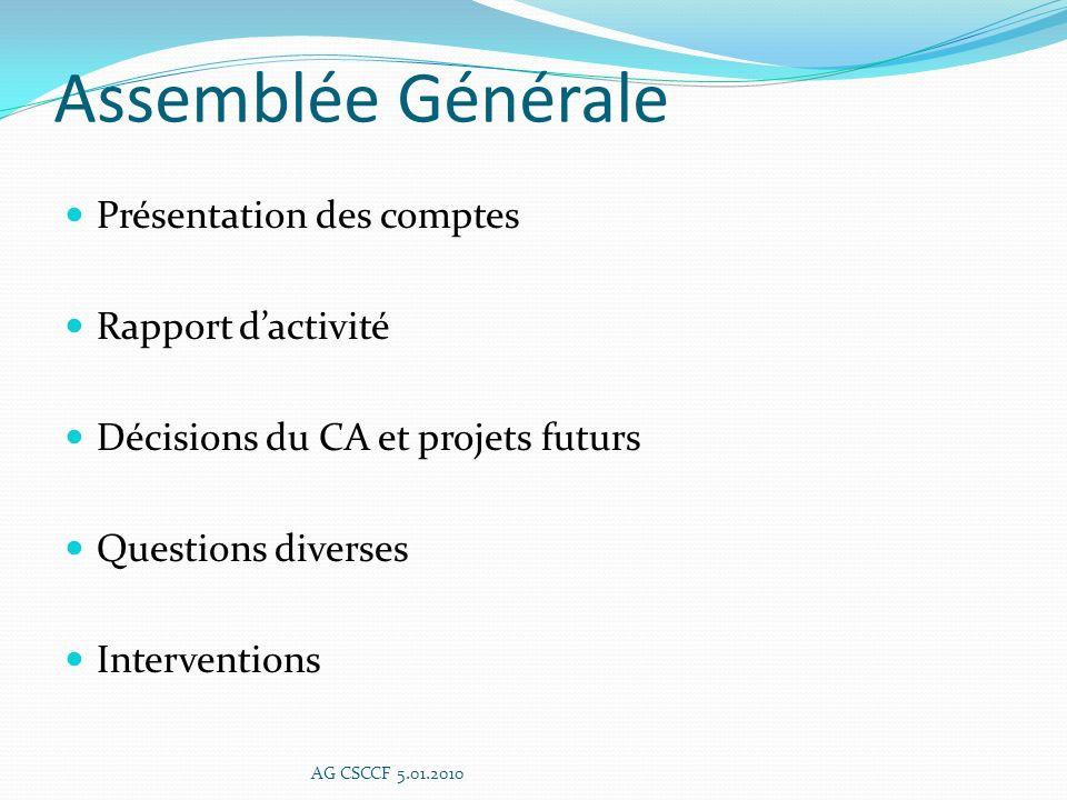 Assemblée Générale Présentation des comptes Rapport d'activité