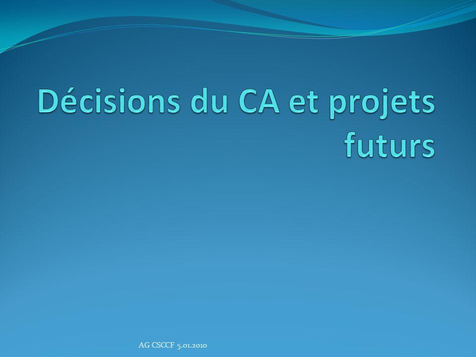 Décisions du CA et projets futurs