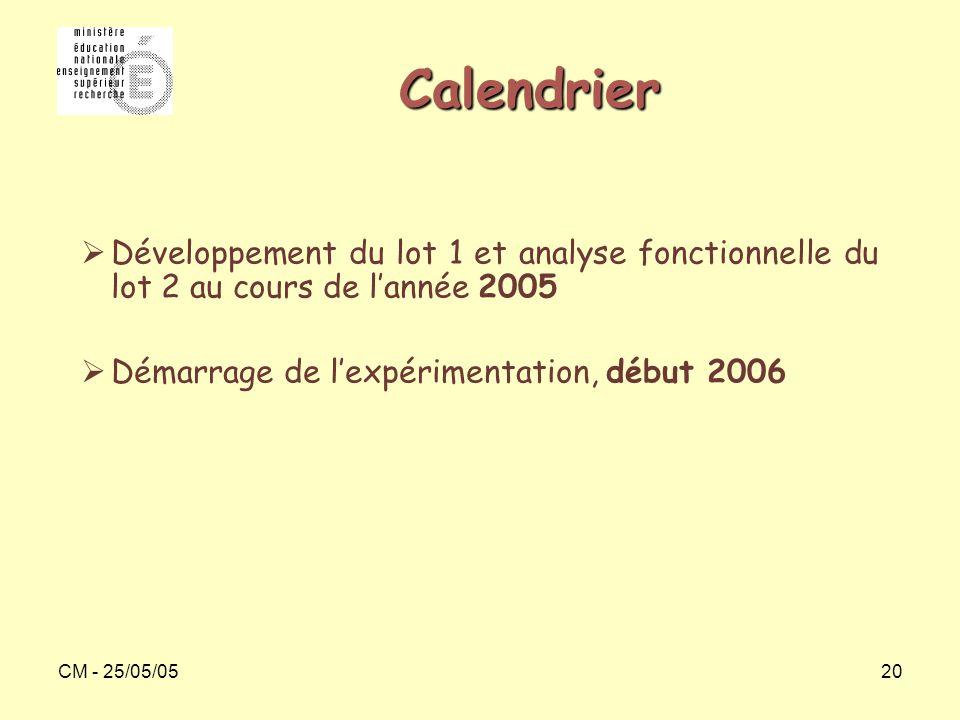 Calendrier Développement du lot 1 et analyse fonctionnelle du lot 2 au cours de l'année 2005. Démarrage de l'expérimentation, début 2006.