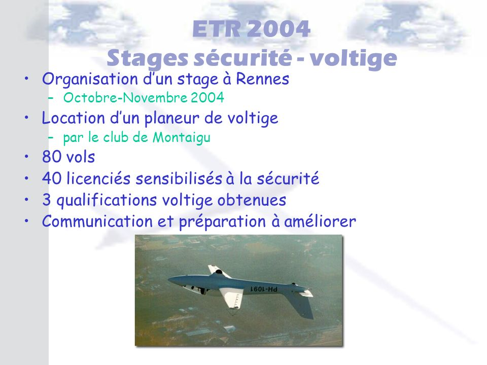 ETR 2004 Stages sécurité - voltige
