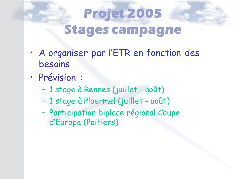 Projet 2005 Stages campagne