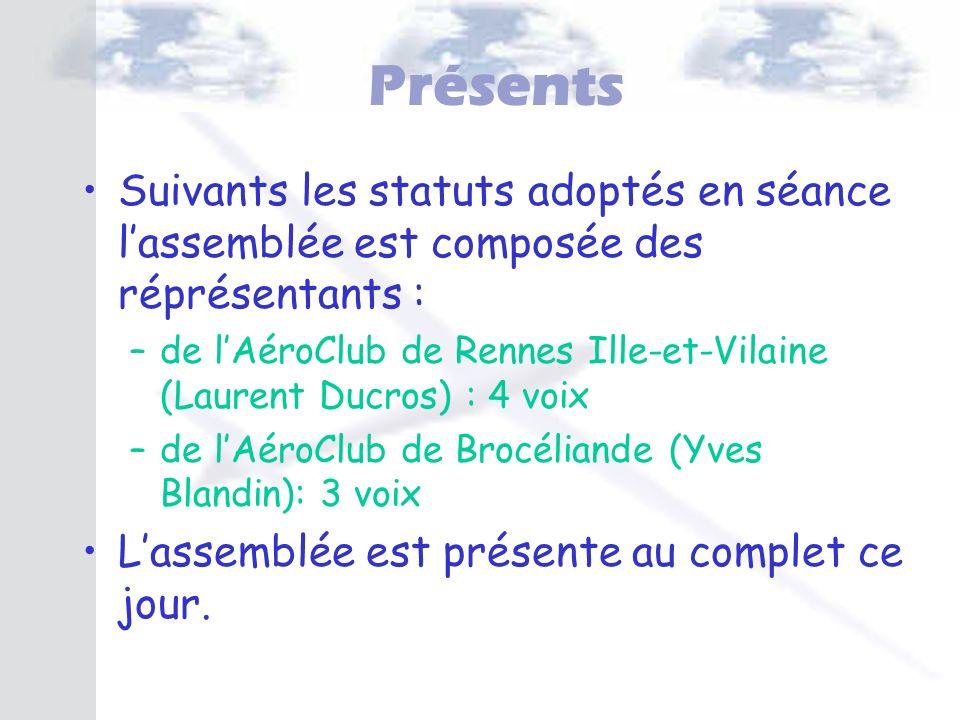 Présents Suivants les statuts adoptés en séance l'assemblée est composée des réprésentants :