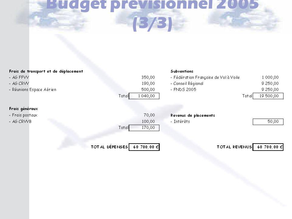 Budget prévisionnel 2005 (3/3)