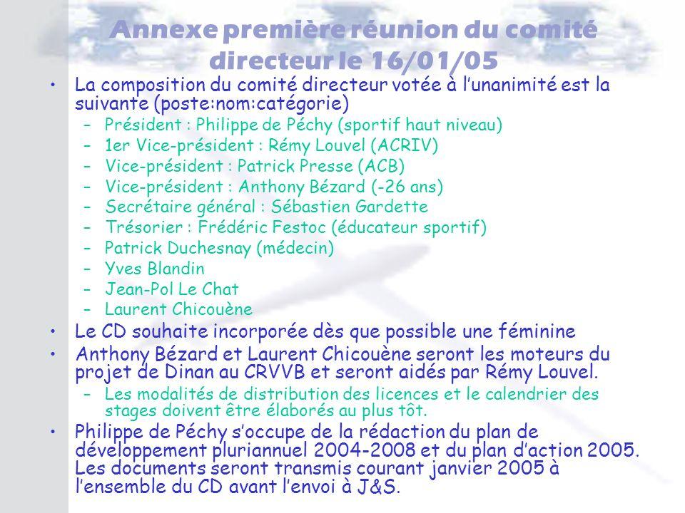 Annexe première réunion du comité directeur le 16/01/05