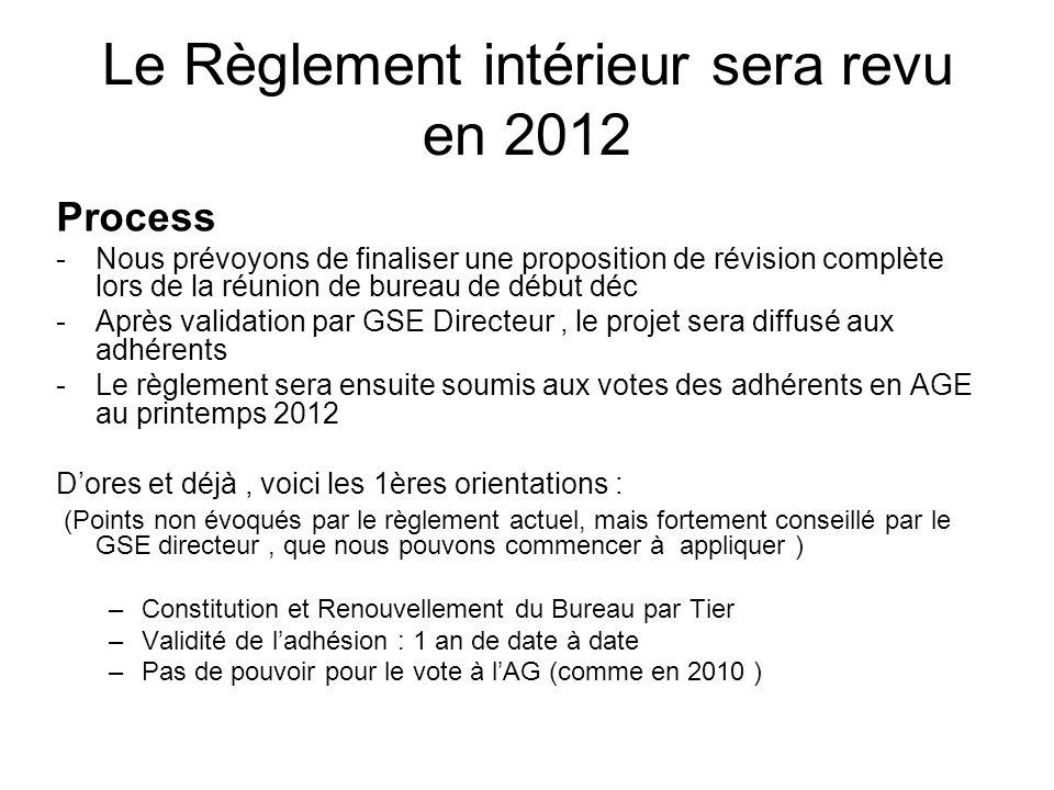 Le Règlement intérieur sera revu en 2012