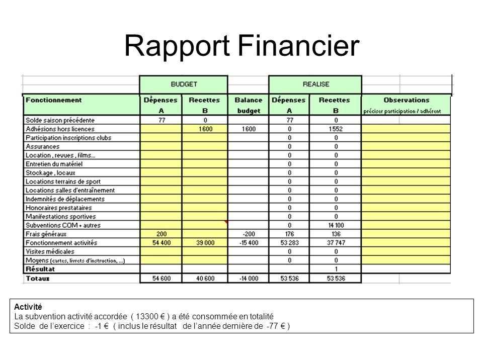 Rapport Financier Activité