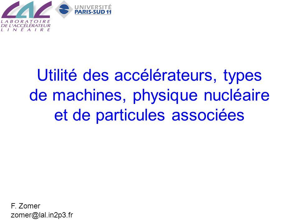 Utilité des accélérateurs, types de machines, physique nucléaire et de particules associées