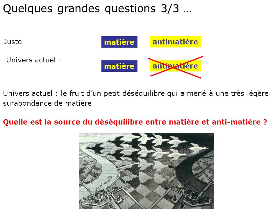Quelques grandes questions 3/3 …