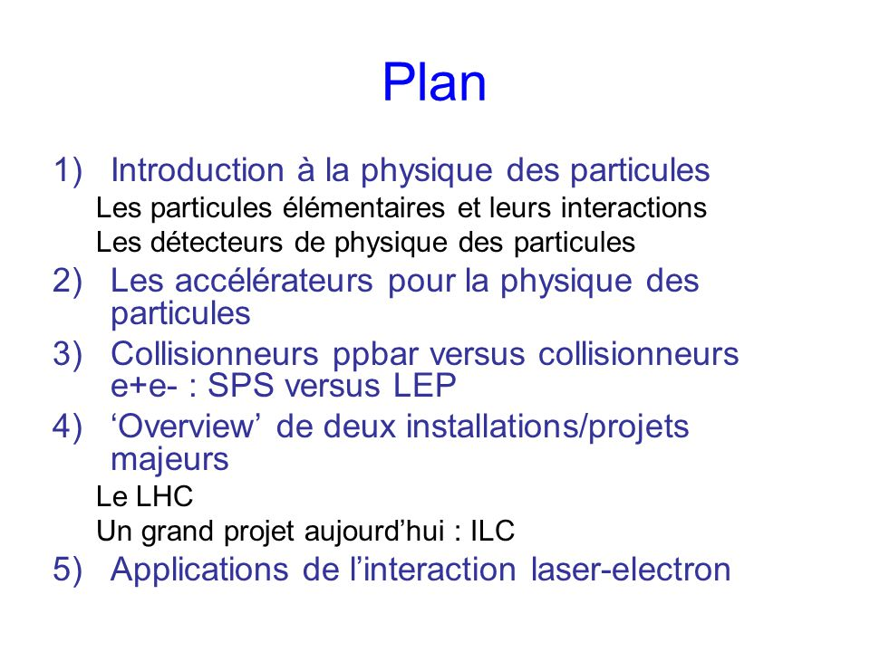 Plan Introduction à la physique des particules