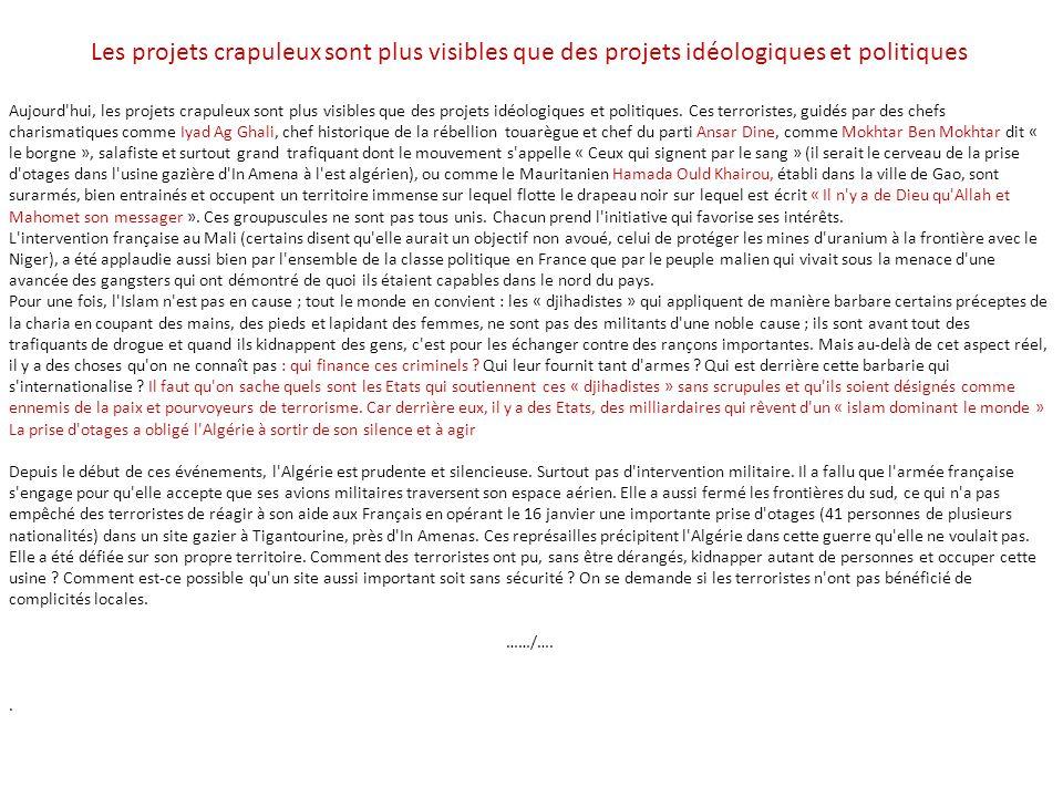 Les projets crapuleux sont plus visibles que des projets idéologiques et politiques