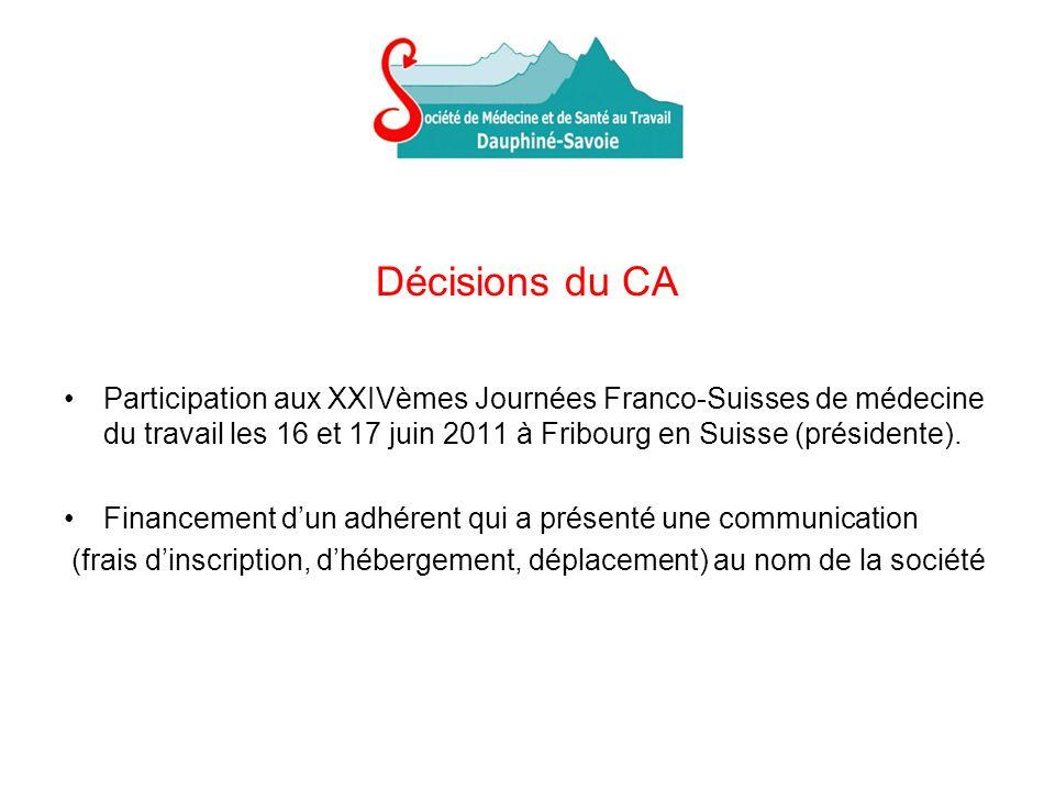 Décisions du CA Participation aux XXIVèmes Journées Franco-Suisses de médecine du travail les 16 et 17 juin 2011 à Fribourg en Suisse (présidente).
