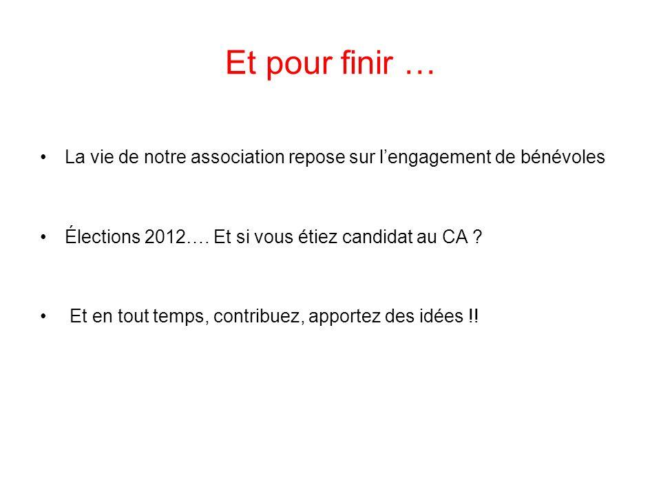 Et pour finir … La vie de notre association repose sur l'engagement de bénévoles. Élections 2012…. Et si vous étiez candidat au CA
