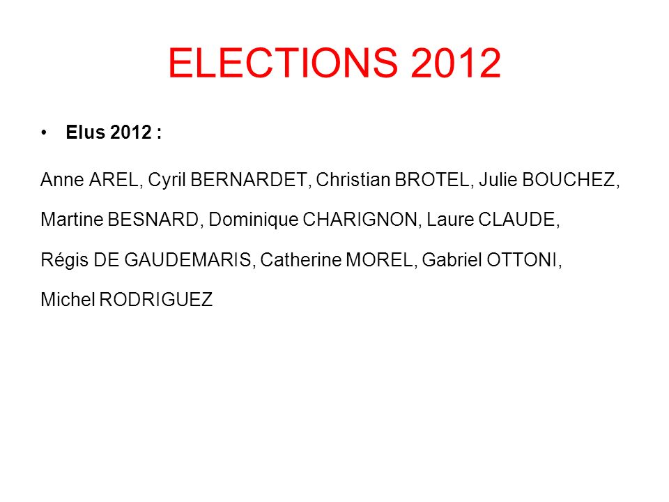 ELECTIONS 2012 Elus 2012 : Anne AREL, Cyril BERNARDET, Christian BROTEL, Julie BOUCHEZ, Martine BESNARD, Dominique CHARIGNON, Laure CLAUDE,