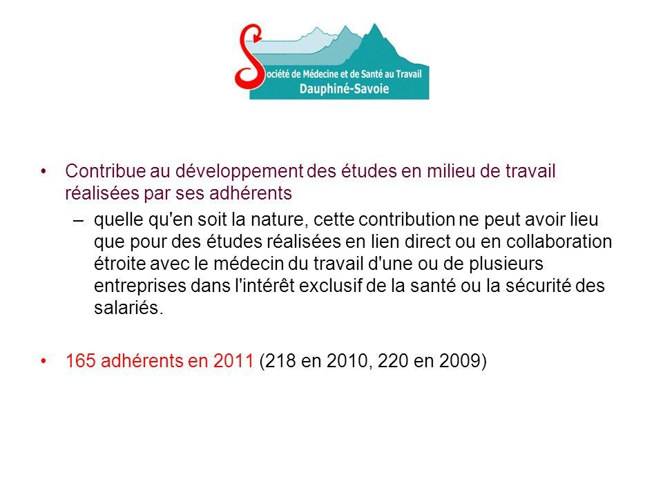 Contribue au développement des études en milieu de travail réalisées par ses adhérents