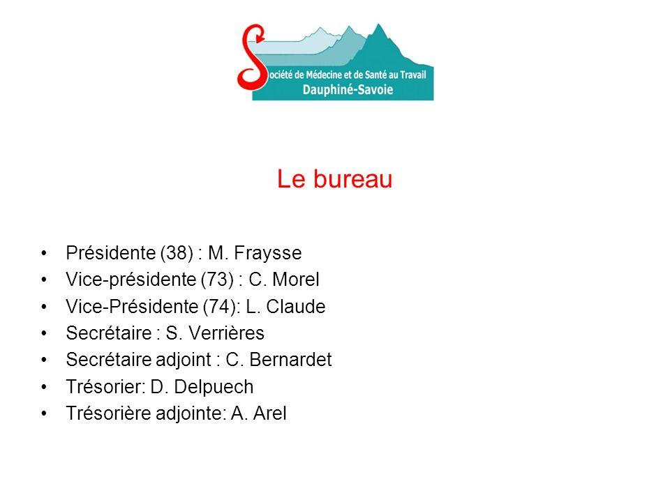 Le bureau Présidente (38) : M. Fraysse Vice-présidente (73) : C. Morel