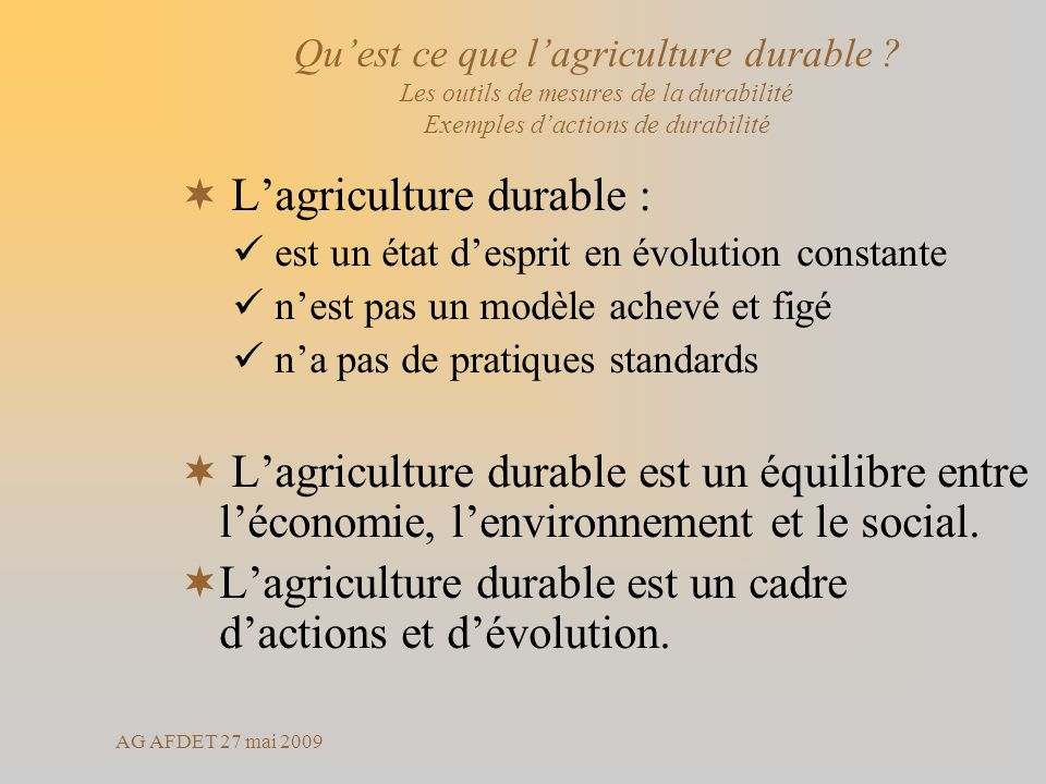 L'agriculture durable :