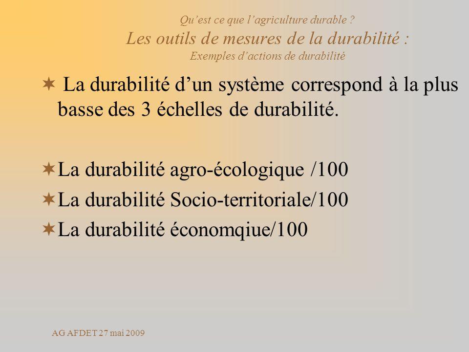 La durabilité agro-écologique /100